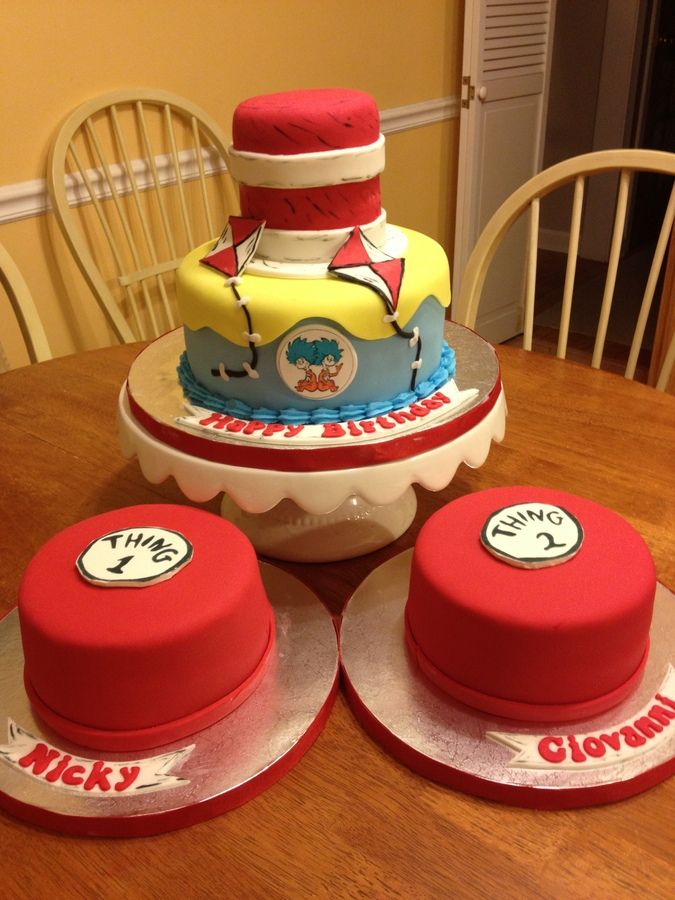 Cat in the Hat Cake, could add chevron and different colors to small cakes