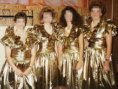 Gold bridesmaids dresses. I hope these were repurposed by their daughters/friends as awesome Halloween costumes.