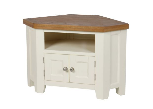 """Country Cottage Cream Painted 2 Door Corner Oak TV Unit - <p class="""""""">The stunning cream painted Country Cottage Oak 2 Door Corner TV Unit.</p>    <p class="""""""">This TV Unit is an excellent addition to our Country Oak Cream Painted Range which we offer many different products in such as dining tables, bar stools, sideboards, coffee tables, TV Units and Bedroom Furniture. The Country Oak cream painted TV unit is manufactured with an American Oak top which"""
