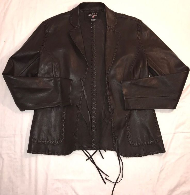 Ralph Lauren Polo Jeans Co Leather Jacket Brown Leather SZ Large Southwestern #PoloJeansCoRalphLauren #BasicJacket