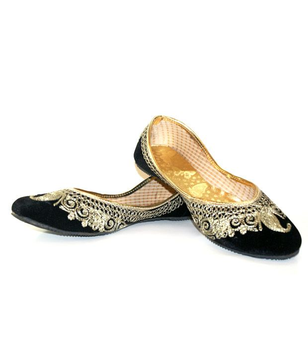 Desire of Shoes Black Punjabi Jutti