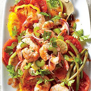 No-Cook Meals | Bloody Mary Tomato Salad with Quick Pickled Shrimp | SouthernLiving.com