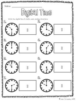 Telling Time Math Unit - Freebie that covers digital and analog clocks and telling time to the hour, half hour, quarter after and quarter to.