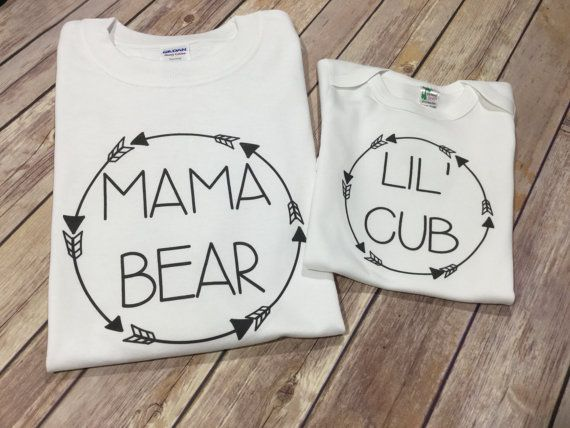 Mama Bear lil Cub baby Papa One Piece or Shirt by sweetdahliashop