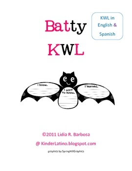 Enjoy this KWL chart in English and Spanish.You can also use it as a bat mobile by using the circle patterns toadd facts about bats.Enjoy...