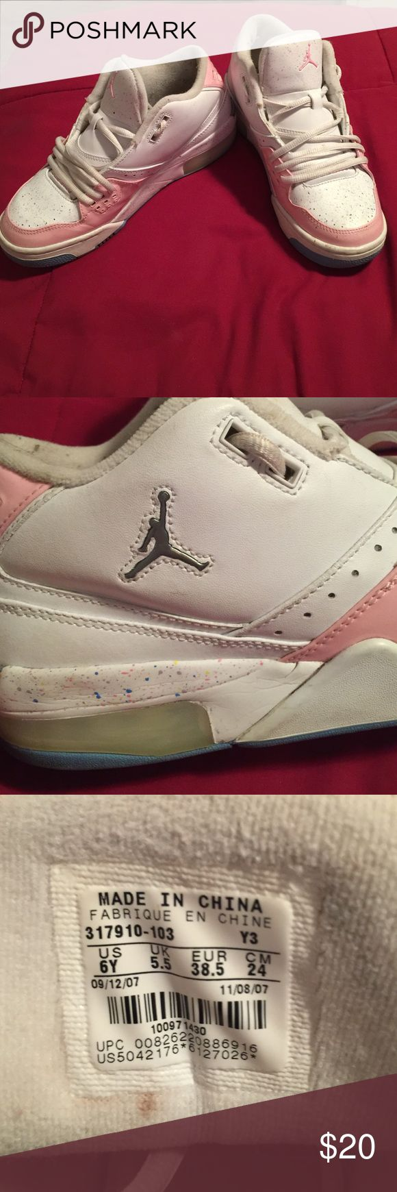Blue, Pink and White Jordans Blue, Pink and White Jordans.  These are youth size 6. Jordan Shoes Athletic Shoes