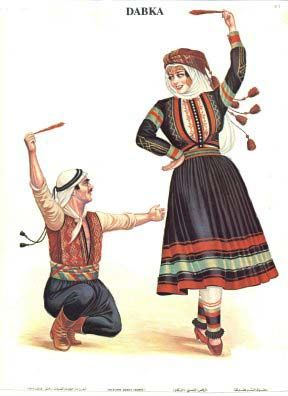 Lebanese traditional dress and Dabke. Dabke is a modern Levantine Arab folk circle dance of possible Canaanite or Phoenician origin. It is a dance from Lebanon, Syria, Jordan, and Palestine, and is performed at weddings and on joyous occasions.