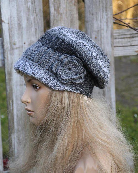 Womens Grey Hat Winter Chunky winter hat Women's Hat