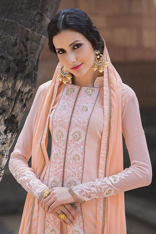 Salmon Pink Color Georgette Fabric Salwar Kameez