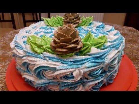 Рецепт НОВОГОДНЕГО торта МАНДАРИНОВЫЙ торт Украшаем торт белково заварным кремом Cake decoration