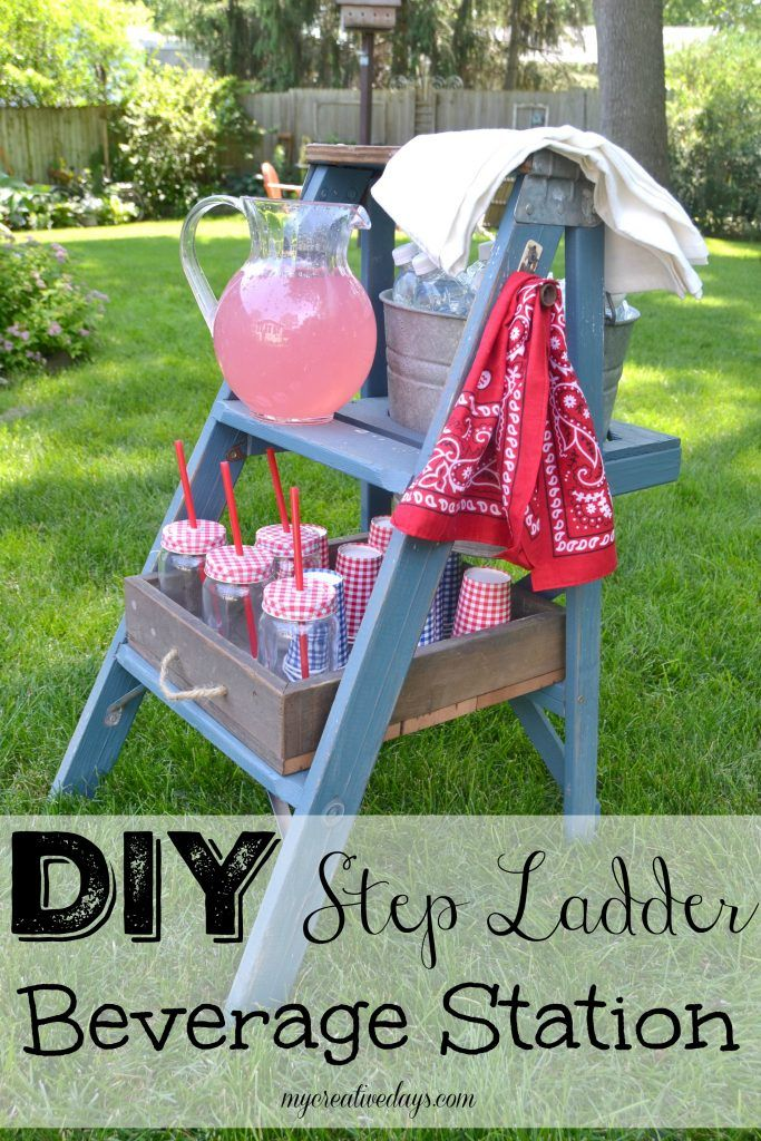 Upcycled Ladder Drink Station Idea