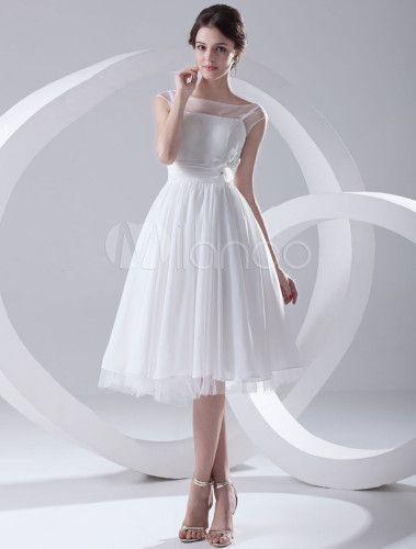 Robe de mariage charmante A-ligne blanche en chiffon col bateau - Milanoo.com