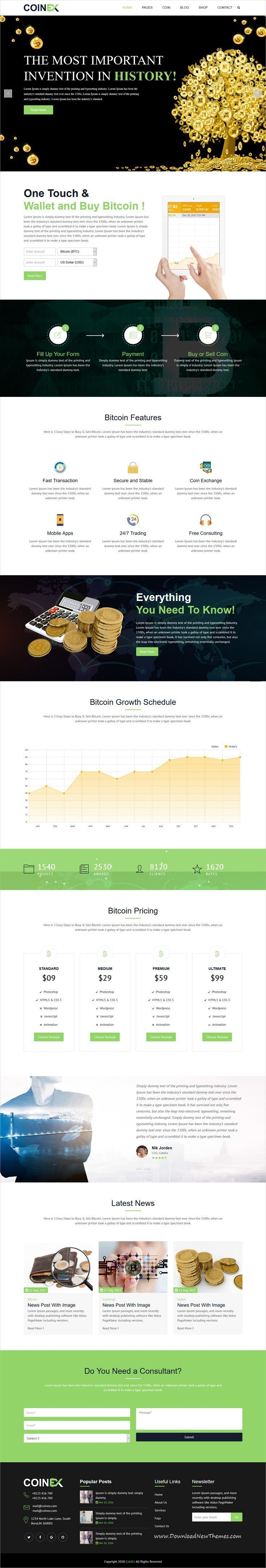 CoinEx is clean and modern design 6+ responsive bootstrap HTML #template for digital #currency, cryptocurrencies, #fiances, #bitcoin mining equipment and business consulting website to live preview & download click on Visit 👆 #bitcoinmining #BitCoinMiningInfo