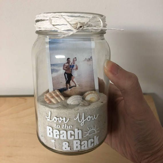 Mason Jar Photo Memory Jar | I Love You to the Beach and Back | Picture Frame Memento | Beach House | Gift for Boyfriend | Gift for Girlfriend | Summer Memories | #affiliate