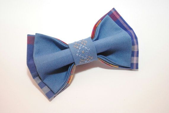 Bow tie for men Blue plaid bowtie with by accessories482 on Etsy