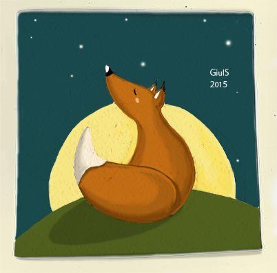 Volpe fox illustrazione luna notte