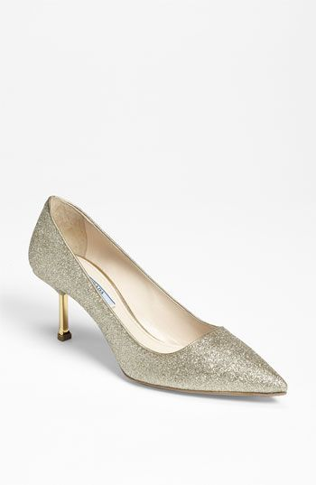 Prada Glitter Pump ♥  #wedding #shoes #prada #glitter #kittenheel #thewaterview ♥  Inspiration from www.waterviewcatering.com and www.facebook.com/thewaterview