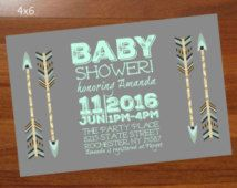 Boho Baby Shower invitation,Mint and gray baby shower,Arrow baby shower invite,Gender neutral,Tribal,personalized 4x6 printable invitation