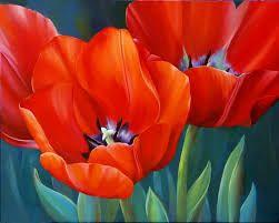 Resultado de imagen para cuadros al oleo de flores rojas