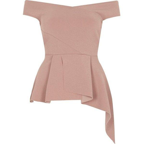 River Island Light pink asymmetric peplum hem bardot top ($30) ❤ liked on Polyvore featuring tops, pink, sale, women, light pink top, pleated top, brown top, crepe top and asymmetrical peplum top
