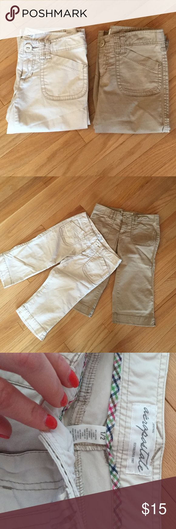 2 pair, matching cream and khaki capris pants 2 pair AEROPOSTALE cream and khaki capris. Same pant, 2 colors!! Size 1/2 based on their measurements, same as junior size 1. Smoke free and pet free home. Aeropostale Pants Capris