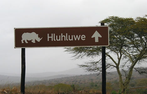 Hluhluwe Game Reserve, northern Zululand. Noted for its white rhinos & fantastic scenery.