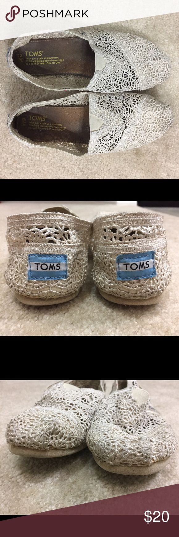 Crochet lace Toms Off White or Cream Toms. Lace Crochet. Size 8.5 TOMS Shoes Flats & Loafers