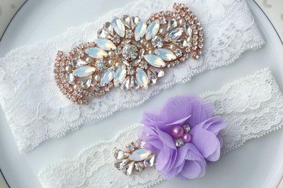 Bridal Garter Set White Purple Rhinestone by TheTossedBouquet