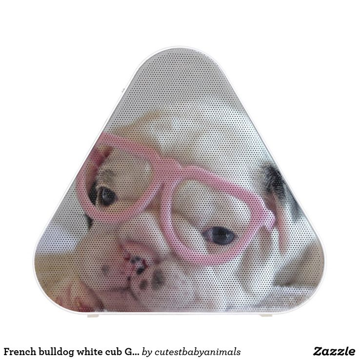 French bulldog white cub Glasses, lying on white Bluetooth Speaker. Música, music. Producto disponible en tienda Zazzle. Tecnología. Product available in Zazzle store. Technology. Regalos, Gifts. #bocinas #altavoces #speaker