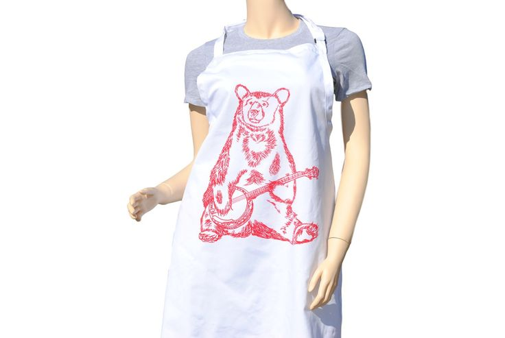 FREE SHIPPING - Kitchen Apron - Red Banjo Bear - BBQ - Chef - Baking - Gifts for Mothers Bridal Shower Teachers   #apron #aprons #kitchenaprons #kitchenapron #bbqapron #bbqaprons #cooksapron #cooksaprons #cooks #chef #baking