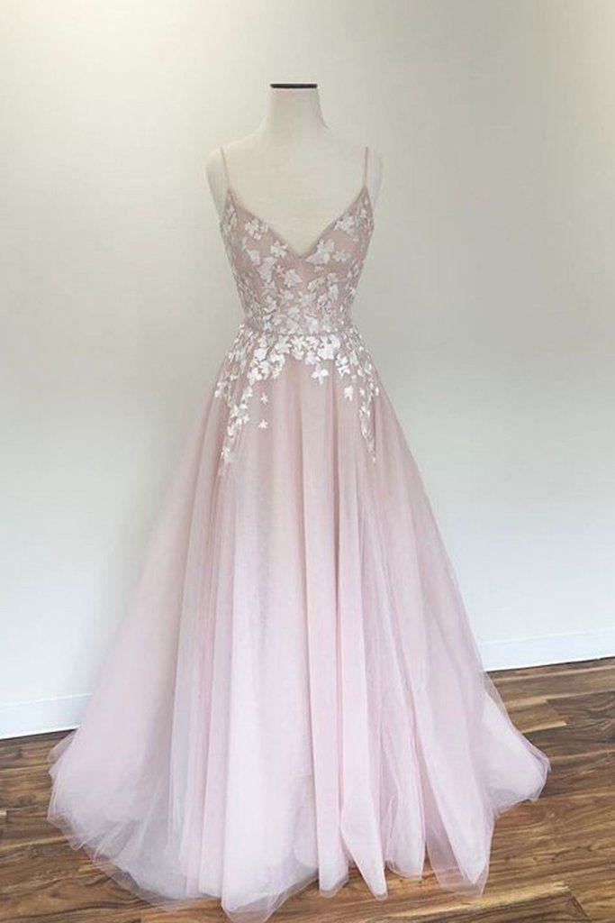 Light Pink V Neck Tulle Long Spaghetti Straps Appliques Prom Dress OKB57 1