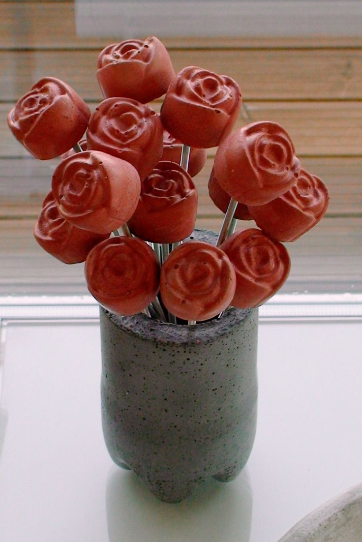 Concrete roses. These flowers will last forever!