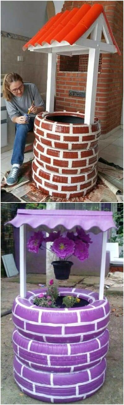 Make a Well with Old Tires - DIY Tire Art - How to recycle old tires to decorate the garden. Well, it's simple by creating a fictitious well that once finished will beautifully embellish a corner of the garden and will also serve as a summer planter to bloom abundantly. To make your well from the most basic model: You will need 3...