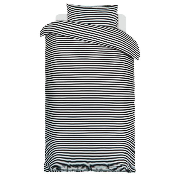 Tasaraita pussilakana ja tyynyliina, musta-valkoinen