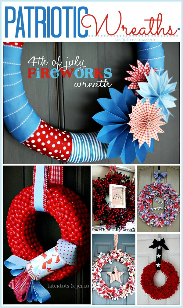 Patriotic Wreaths... perfect to celebrate Memorial Day and The 4th of July! #MemorialDay #4thofJuly #wreath