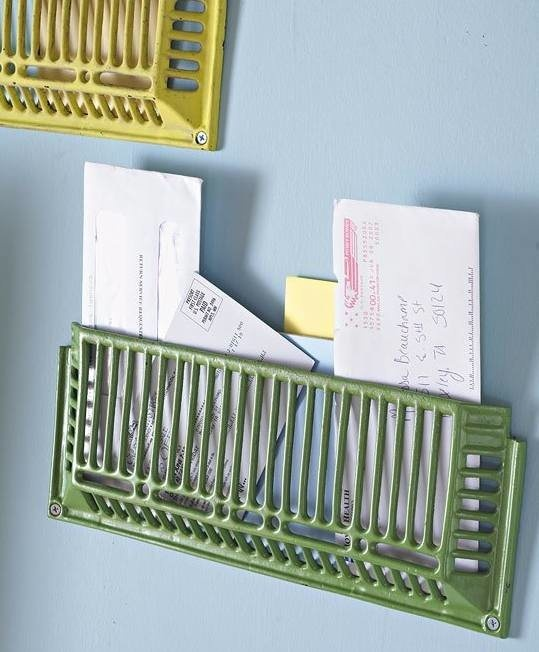 Old metal vent grates... re-purposed.. recycled, green, upcycle... leave them as is or paint them some funky colors.... greatter letter boxes, mail boxes, or for important school work, cool magazine rack... many ways to make this work!