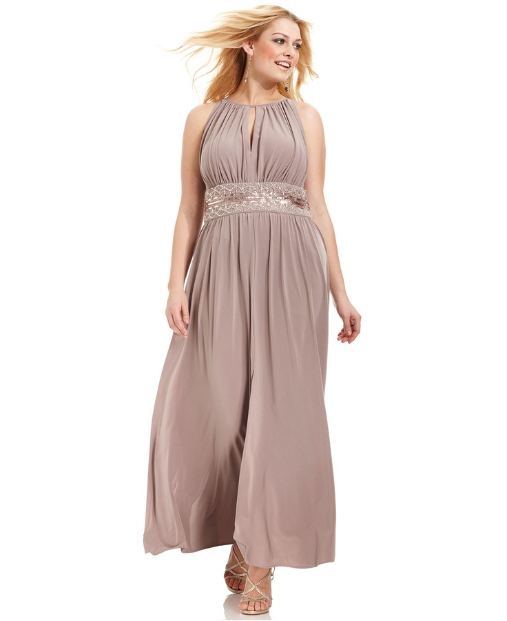 R Richards Plus Size Dress, Sleeveless Beaded Evening Gown - Plus Size Dresses - Plus Sizes - Macys