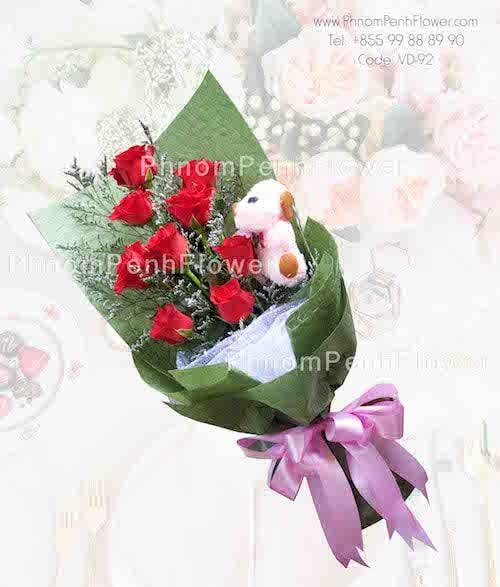 9 Kisses Vd 92 Hand Tied Bouquet Rose Bouquet Saint Valentine