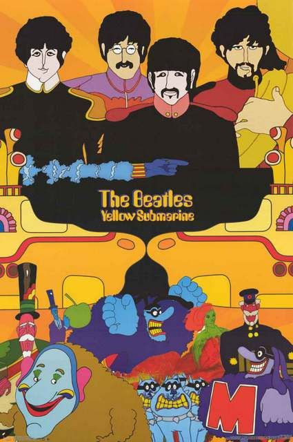 Beatles Yellow Submarine Psychedelic Movie Poster 22x34