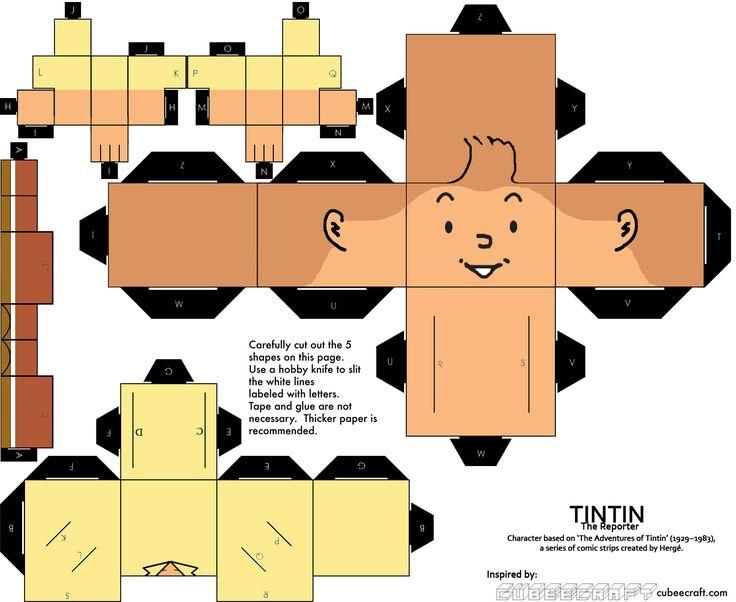 Tintin Cube Craft by BasaBasiBusuk