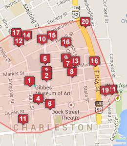 Map of Charleston, SC hotels