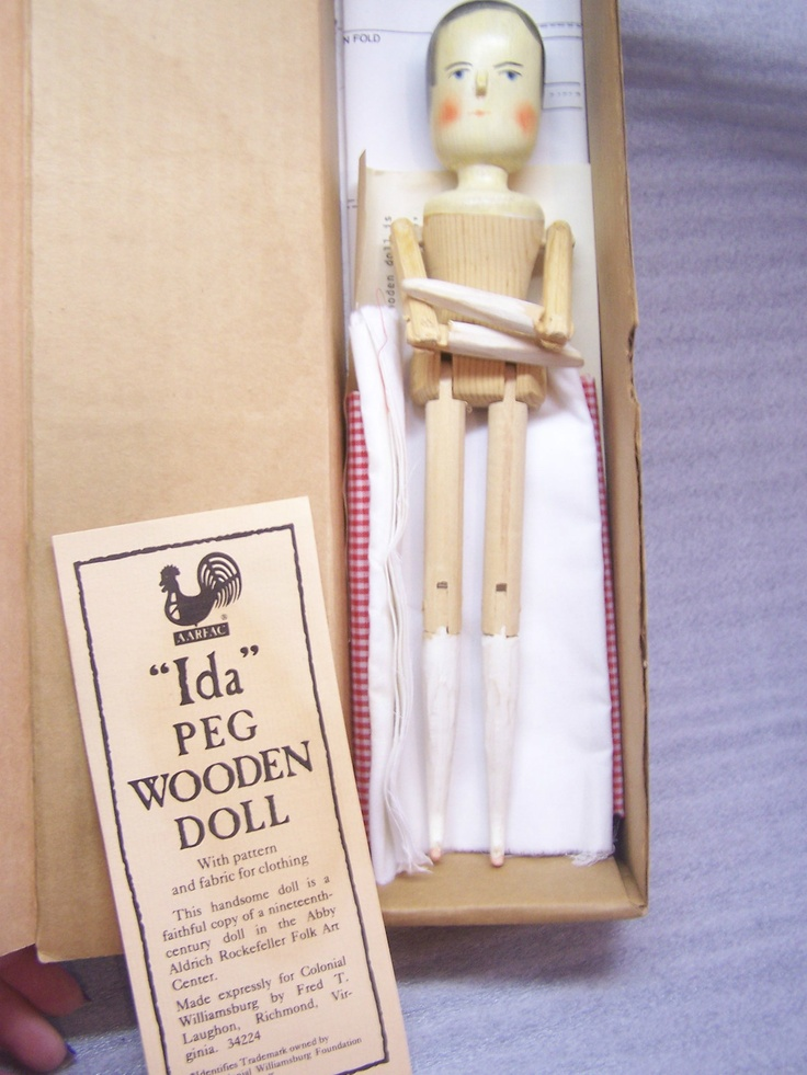 """Ida"" Peg Wooden Doll with Pattern and Fabric for Clothing ..."