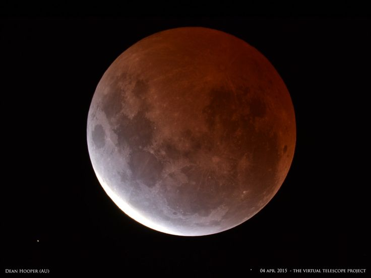 Dean Hooper captured this moon shot during the total lunar eclipse on April 4, 2015, in in Melbourne, Australia, as part of the Virtual Telescope Project in Italy.