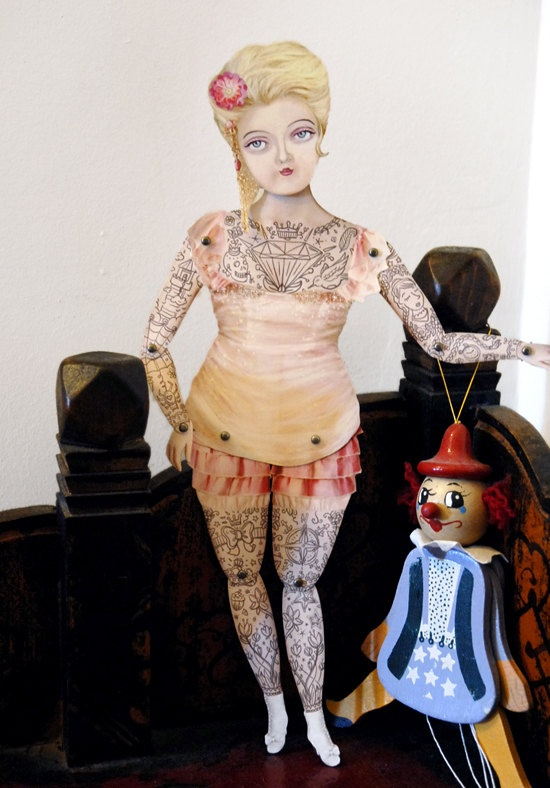 Victorian Tattooed Paper Puppet Doll by crankbunny on Etsy, $20.00