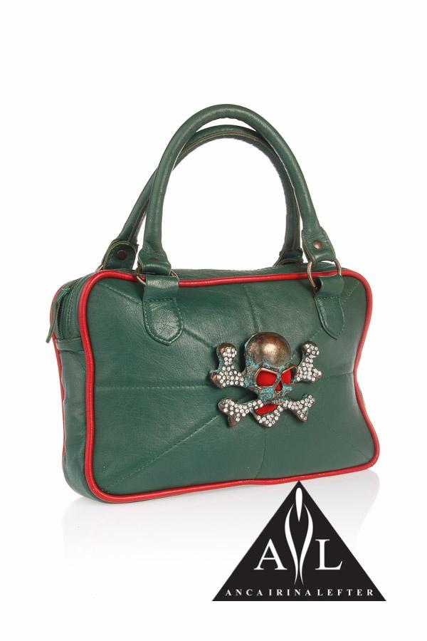 Green skull leather bag