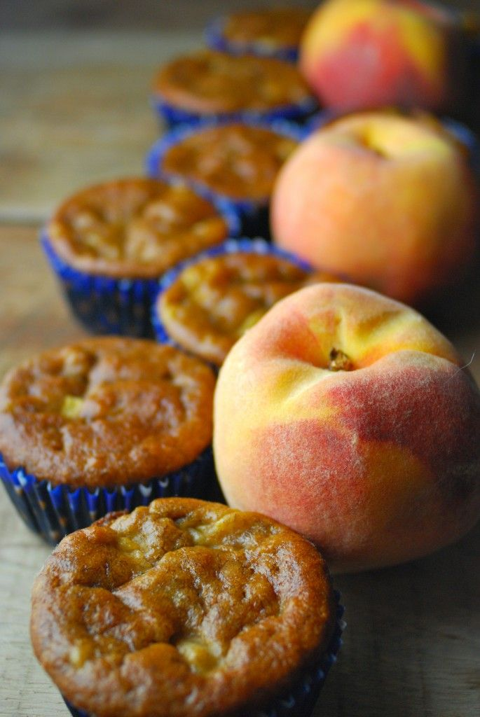 "Pinner said ""We make these healthy peach muffins ahead for a grab-and-go breakfast on rushed school mornings! So good!"""