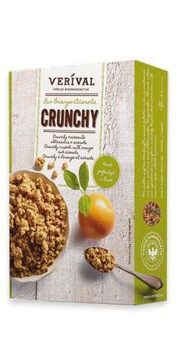 CRUNCHY MUESLI WITH ORANGE AND ACEROLA  Crunchy clusters of oats and barley, sweetened with Austrian beet sugar, flavoured with acerola cherry powder and orange oil, then toasted and mixed to perfection by hand in the Austrian Tyrol. Deliciously biscuity and 100% organic.