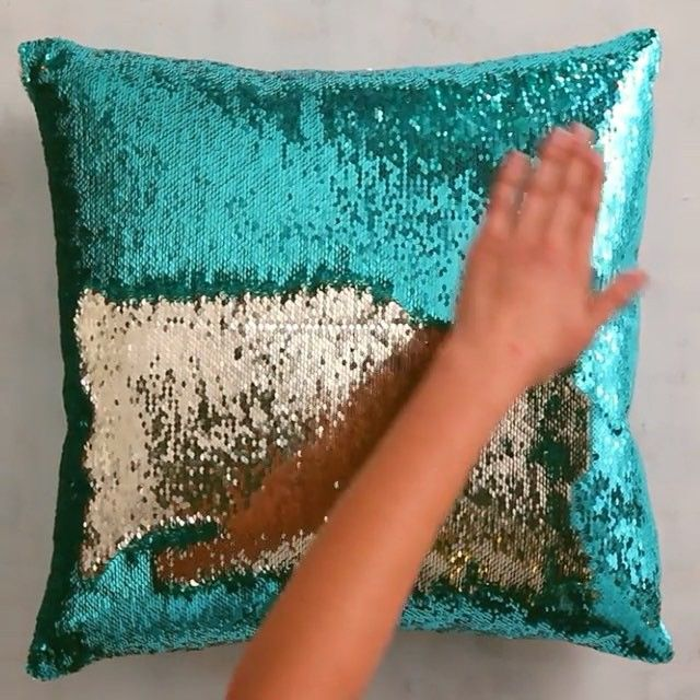 How mesmerizing is this? We could watch it all day. #pier1 #mermaidpillow  Try it yourself: Find our Gold & Teal Mermaid Sequin Pillow via the Like2b.uy/Pier1 link in our profile.
