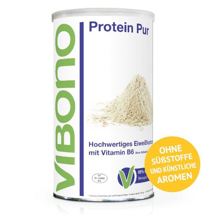 """Ideal für... Für leckere Pfannkuchen (siehe Reiter """"Rezept-Ideen""""). Schmeckt als Shake angenehm nussig, ist nicht gesüßt und lässt sich wunderbar mit pürierten Früchten variieren. Grüne Energiedichte Ein Pur-Shake, angerührt mit fettarmer Milch, hat eine grüne Energiedichte von 0,7 kcal/g. Wertvolle Inhaltsstoffe... Vibono Protein Pur ist ein 4-Komponenten-Eiweißkonzentrat mit ..."""