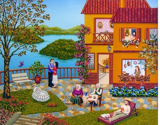 Argentinian artist. check her website: www.lauravidra.com.ar Incredible naive paints.